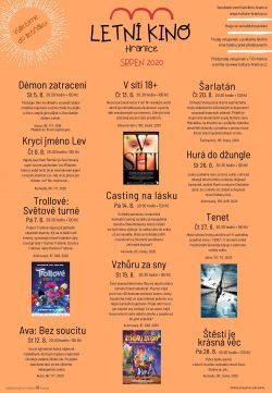 Pozor změny: program letního kina v srpnu / fotogalerie / Program letního kina v srpnu - plakát